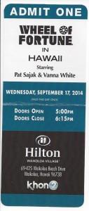 Wheel of Fortune ticket 9-2014